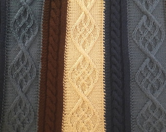 """Super soft, 4-color blue and brown cable afghan (machine washable), 48"""" x 64"""""""
