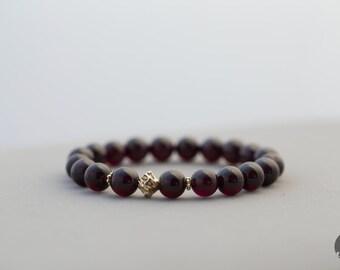 Deep Red Garnet Beaded Bracelet in Gold, January Birthstone, Birthstone Jewelry, Stretch Bracelet - for Her, byJTSjewelry