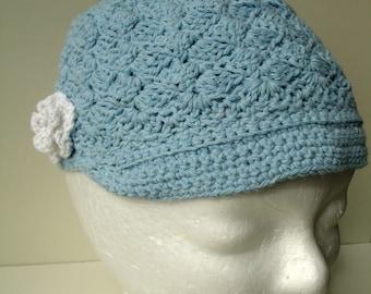 Light Blue Bonnet Hat with a White  Flower for Girls - custom work