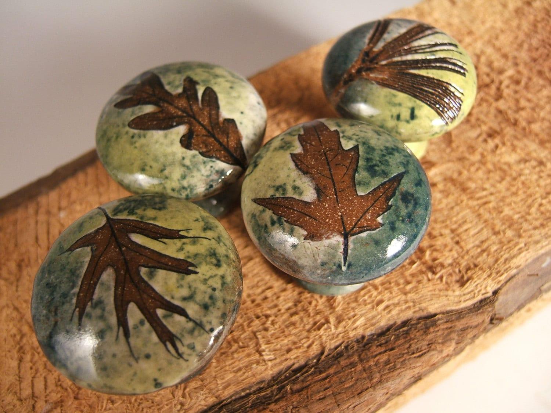 4 Leaf Ceramic Cabinet Knobs or Drawer Pulls Cabinet Hardware