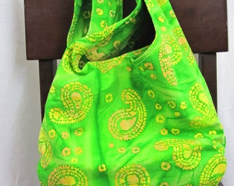 Crossbody hobo bag, bright green batik, cloth sling bag