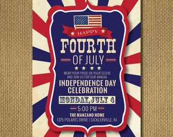 PRINTABLE | 4th of July Party Invitation, Patriotic, Red, White & Blue, Personalized Printable Invitation, You Print, 5x7