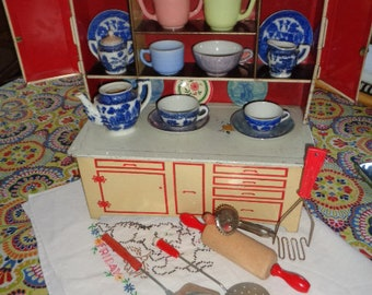 Vintage Mid Century Wolverine large Tin Toy Cupboard Hoosier and vintage toy dishes Baking Utensils  Blue Willow tea Set