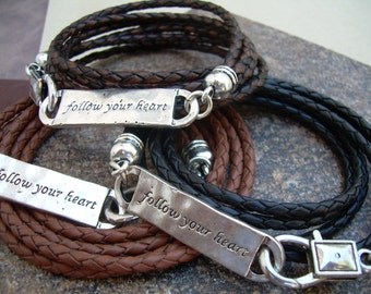 Mens Leather Bracelet, Womens Leather Bracelet, Follow Your Heart Leather Bracelet, Mens Jewelry, Womens Jewelry, Leather Bracelet,