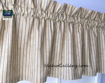 Primitive Rustic Country Curtain Tea Stained With Blue Ticking Valance Farmhouse Window Treatment 11 L X 415 W