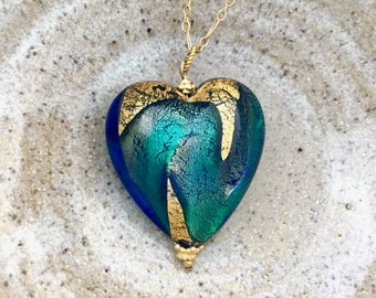 Extra large Venetian Murano puffy heart pendant 32mm x 30mm turquoise aqua gold glass, large Italian gold foil lampwork bead necklace N225