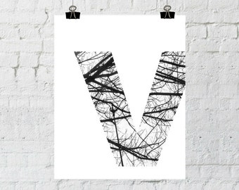 Monogram Initials Art Letter Print, Modern, Rustic Wall Decor, Black and White Prints, Tree Branch Art, Instant Download-ADOPTION FUNDRAISER