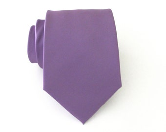 Purple Mens Tie With *FREE* Matching Pocket Square Orchid Purple Mens Necktie Pocket Square Set