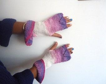 White pink knitted wavy half finger light pink dark purple  multi colored patterned oversize fingerless gloves
