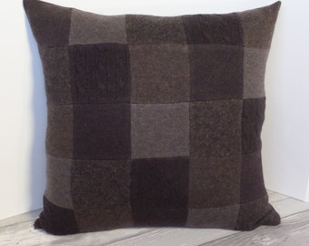 """Recycled wool sweater slipcover for 18"""" cushion -- medium brown"""