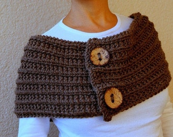 Clothing Gift. Mocha Brown Infinity Scarf / Circle Scarf / Brown / Hand Knitted Chunky With Big Buttons