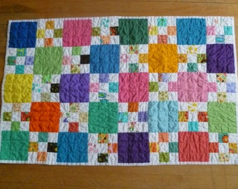 Bright Scrappy Nine Patch Quilt