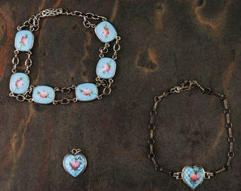 Antique Guilloche Enamel Bracelets and Charm Set-Sterling Silver, Taille Roses