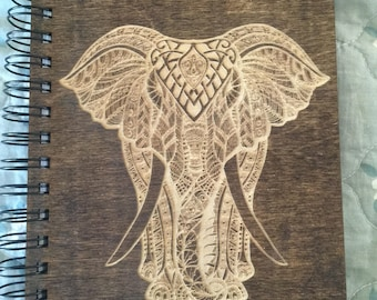 Decorative Elephant Etched Wooden Notebook