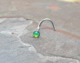 Light Peridot Green Fire Opal Nose Ring Stud