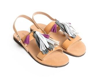 THALATTA TASSELS IV,multi-colored leather tassels sandals handcrafted in Greece