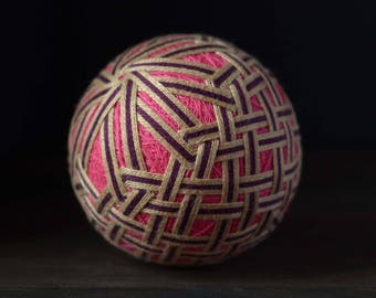 Temari ball Japanese embroidery Pink Beige colours Unique gift Birthday gift Traditional art Sphere Handcrafted ball Ornament Table decor