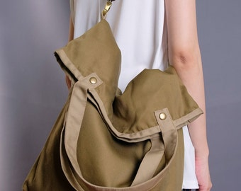 Khaki Diaper Bag/Tote/Shoulder Bag/Handbag/School Bag/Messenger Bag/Handmade/Novelty/Market/For Him/For Her-089