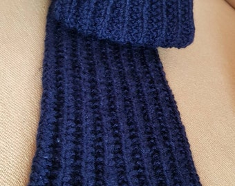 Personalised Classic Handknitted Knitted Scarf Made To Custom Order Navy Men Women Kids Accessories Handmade Pattern Father's Day