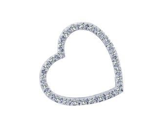 0.30 Carat Round Brilliant Cut Diamond Heart Pendant 14K White Gold