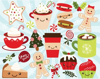 Clipart - Christmas Treats, Winter Sweets, Hot Chocolate, Coffee Cup, Coffee Mug, Christmas Candy clipart, Kawaii Christmas, Cute clipart