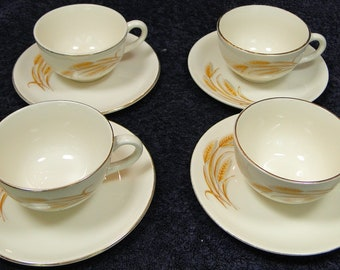 FOUR Homer Laughlin Golden Wheat Tea Cup and Saucer Sets Set of 4 EXCELLENT!