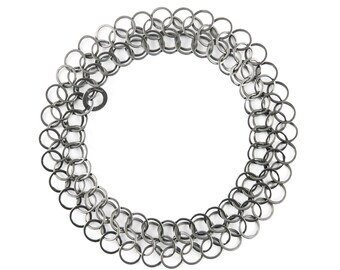 Ednie handmade sterling silver chainmaille bracelet, oxidised silver. (free delivery worldwide)