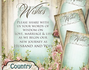 COUNTRY BLISS• Set of Wedding Wish Sign and Tags•Wish Tree Cards•Wedding Wish Tags•Wish Tags•Bridal Shower•Wedding Shower•Country Wedding