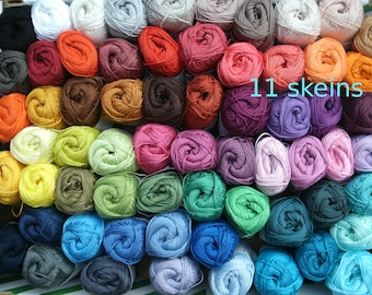 Catania cotton yarn, 11 skeins, 550 gram in total, quality cotton yarn, each 50 g, 11 colours