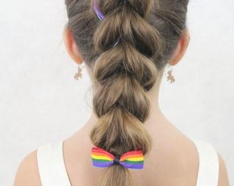 Rainbow Ponytail Hair Bow - Elastic Band Rainbow Bow - Girls Rainbow Hair Accessories
