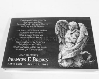 9 x 14 x 2 Grave Stone or Flat Marker - Smiling Angel