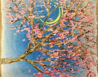 Moonlit Blossoms original oil on a burlap canvas