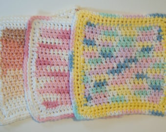 Crocheted Dishcloths, brown pink yellow, multicolored dishcloths, eco friendly dishcloths, cotton dishcloth, kitchen cleaning, bath crochet