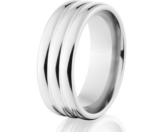 Unique Cobalt Ring, Cobalt Wedding Band USA Made Rounded Cobalt Rings: CB-8HR3R-P