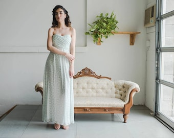 Floral Print Bridesmaid Dress (Short), 'Posy' Print in Sage, Strapless Sweetheart Gown with Bodice Pleating, Removable Straps