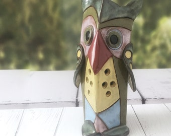 Ceramic Owl, Ceramic bird, home decor gift, Pottery