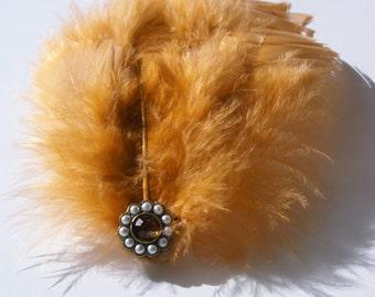 Dusty Orange Feather Hair Fastener