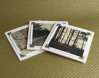 Snow, Road, Lake - Trio of Vintage Snapshots