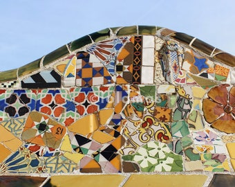 Colorful wall decor Wall Art Gaudi Mosaic wall art, Mosaic Tiles, Gaudi Barcelona,spanish tile wall art, living room decor