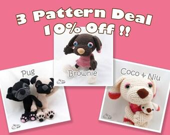 PDF Amigurumi / Crochet Pattern Special 3-Pattern Deal: Sleepy Eye Dog Pug, Coco and Niu, Brownie CPD-16-3317