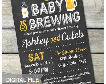 "A Baby is Brewing Invitation Beer Baby Shower - Co-ed - Gender Neutral - Yellow - Chalkboard Style - DIGITAL Printable Invite - 5"" x 7"""
