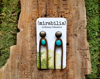 """Brass """"Tuning"""" Earrings with Turquoise"""