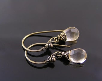 Wire Wrapped Citrine Earrings, Wire Wrapped Earrings, November Birthstone Jewelry, Gem Jewelry, Gem Earrings, Wire Wrapped Jewelry, E2275