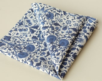 Liberty pocket square - William Morris Lodden navy - blue handkerchief - navy blue pocket square