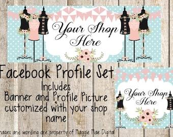 Dressform Facebook Set, Facebook banner, Facebook graphics, Facebook cover photo, store graphics, timeline set, sewing, seamstress, boutique