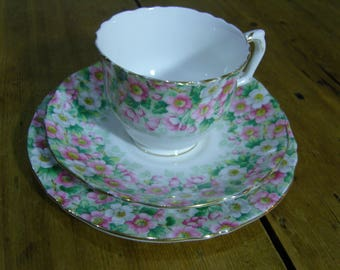 Royal Staffordshire Maytime Floral Pink and White Chintz Teacup, Saucer and Plate Trio