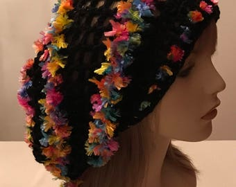 Black with Ribbon Dread Slouchy Hat