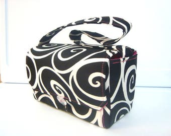 """Large 4"""" Size Coupon Organizer  Coupon Bag  Budget Holder  Attaches to Your Shopping Cart Black with White Swirls - Select Your Size"""