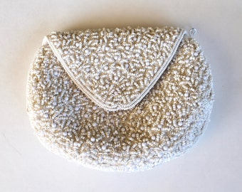 Vintage 1950's White Beaded Clutch Purse
