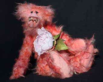 Floyd is a gentle, elegant and delicately colourful, one of a kind, artist bear by Barbara-Ann Bears in wonderfully matted mohair